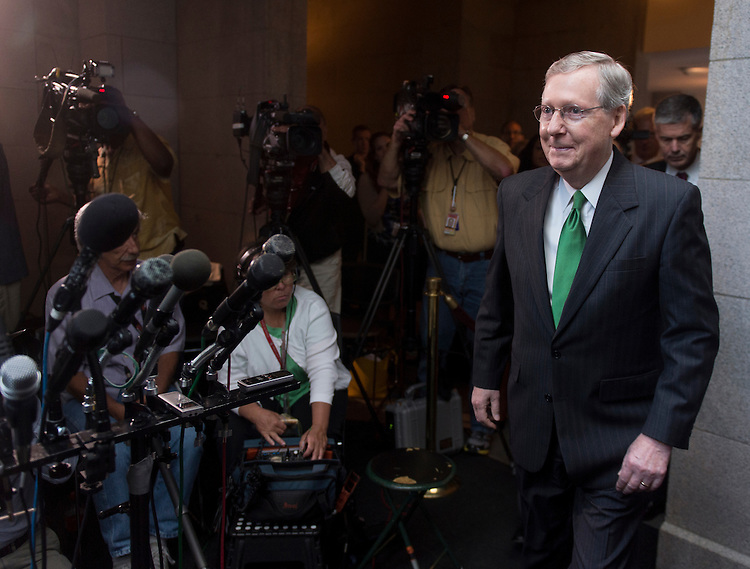 UNITED STATES - JUNE 6: Senate Minority Leader Mitch McConnell, R-Ky., arrives for the media availability in the Capitol with House Republican leaders immediately after the House Republican Conference meeting on Wednesday morning, June 6, 2012. (Photo By Bill Clark/CQ Roll Call)