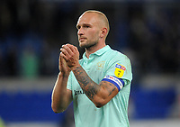 Queens Park Rangers' Toni Leistner applauds the fans at the final whistle <br /> <br /> Photographer Ian Cook/CameraSport<br /> <br /> The EFL Sky Bet Championship - Cardiff City v Queens Park Rangers - Wednesday 2nd October 2019  - Cardiff City Stadium - Cardiff<br /> <br /> World Copyright © 2019 CameraSport. All rights reserved. 43 Linden Ave. Countesthorpe. Leicester. England. LE8 5PG - Tel: +44 (0) 116 277 4147 - admin@camerasport.com - www.camerasport.com