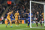 Tottenham's Harry Kane scoring his sides third goal during the Premier League match at the King Power Stadium, Leicester. Picture date: May 18th, 2017. Pic credit should read: David Klein/Sportimage