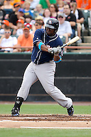 New Hampshire Fisher Cats first baseman Mike McDade #40 bats during a game against the Bowie Baysox at Prince George's Stadium on June 17, 2012 in Bowie, Maryland. New Hampshire defeated Bowie 4-3 in 13 innings. (Brace Hemmelgarn/Four Seam Images)