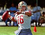 San Francisco 49ers training camp August 4, 1988 at Sierra College, Rocklin, California.  San Francisco 49ers quarterback Joe Montana (16).