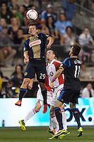 Antoine Hoppenot (29) of the Philadelphia Union heads the ball. The Philadelphia Union defeated Toronto FC 1-0 during a Major League Soccer (MLS) match at PPL Park in Chester, PA, on October 5, 2013.