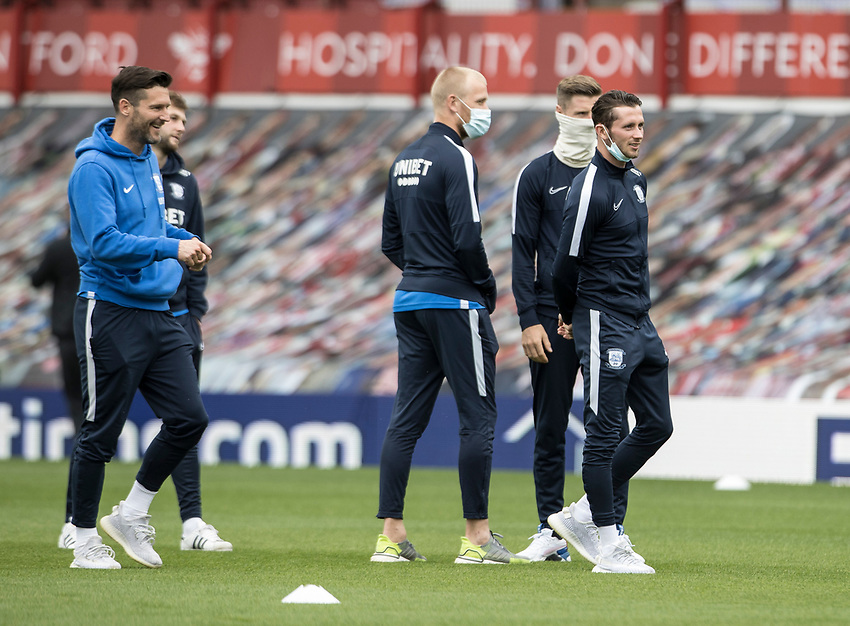 Preston North End's Alan Browne leads the players out for a pitch inspection <br /> <br /> Photographer Andrew Kearns/CameraSport<br /> <br /> The EFL Sky Bet Championship - Brentford v Preston North End - Wednesday 15th July 2020 - Griffin Park - Brentford <br /> <br /> World Copyright © 2020 CameraSport. All rights reserved. 43 Linden Ave. Countesthorpe. Leicester. England. LE8 5PG - Tel: +44 (0) 116 277 4147 - admin@camerasport.com - www.camerasport.com