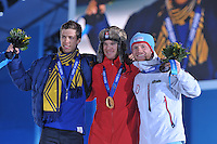 OLYMPICS: SOCHI: Medal Plaza, 09-02-2014, Cross-Country, Men's Skiathlon 15km Classic + 15 km Free, Marcus Hellner (SWE), Dario Collogna (SUI), Martin Johnsrud Sundby (NOR), ©photo Martin de Jong