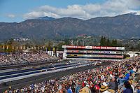 Feb 12, 2017; Pomona, CA, USA; Overall view of Auto Club Raceway at Pomona during NHRA qualifying for the Winternationals. Mandatory Credit: Mark J. Rebilas-USA TODAY Sports