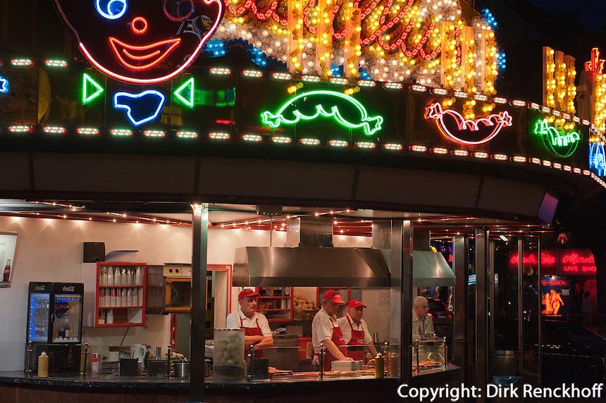Würstchenbude auf der Reeperbahn, Hamburg St.Pauli, Deutschland