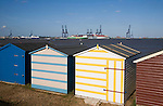 Colourful seaside beach huts at Harwich, Essex, England