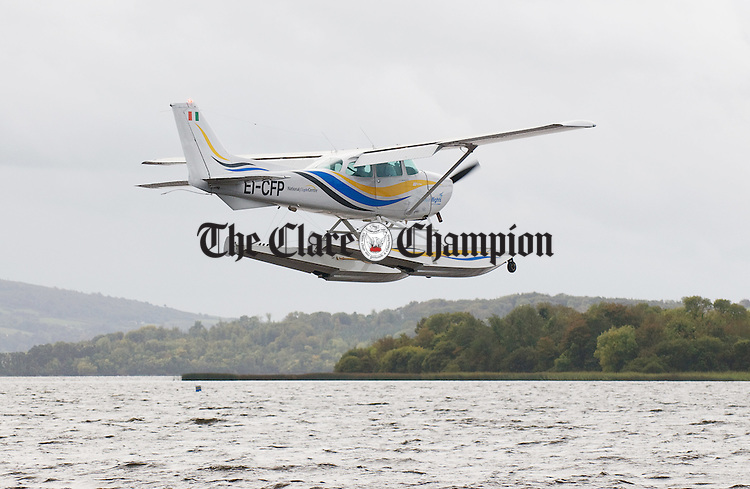 The Harbour Flights seaplane about to land at the Mountshannon base. Photograph by John Kelly.