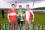 Players Paul Geaney, Killian Young and Marc Ó Sé at the launch of the Garvey's Supervalu County Senior Football Championship launch at the Skellig Hotel, Dingle, on Monday afternoon.