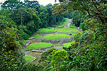 Elevated view of Guayabo National Monument and Park.  The pre-Columbian site is an ongoing archeological excavation project and the is largest and most important archeology in Costa Rica.  It was declared a national monument in 1973.