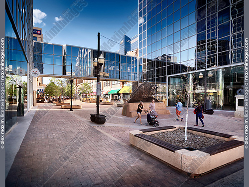 Regina downtown city scenery of Scarth street Mall. Regina, Saskatchewan, Canada 2017.