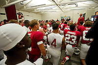 STANFORD, CA--AUGUST 31, 2012--Head Coach David Shaw addresses the Cardinal after their season-opening 20-17 win over San Jose State University at Stanford Stadium.