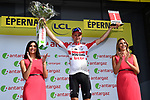 Tim Wellens (BEL) Lotto-Soudal takes over the mountains Polka Dot Jersey and wins the day's combativity prize at the end of Stage 3 of the 2019 Tour de France running 215km from Binche, Belgium to Epernay, France. 8th July 2019.<br /> Picture: ASO/Alex Broadway | Cyclefile<br /> All photos usage must carry mandatory copyright credit (© Cyclefile | ASO/Alex Broadway)