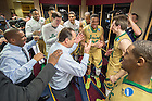 Mar. 26, 2015; Head coach Mike Brey talks to his team in the locker room after Notre Dame defeated Wichita State in the regional semifinal of the 2015 NCAA Tournament. Notre Dame won 81-70. (Photo by Matt Cashore/University of Notre Dame)