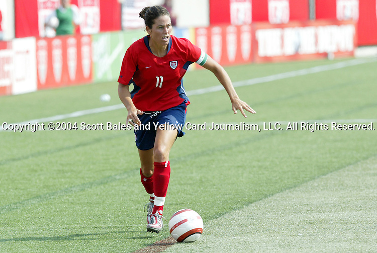 6 June 2004: Julie Foudy in the second half. The United States tied Japan 1-1 at Papa John's Cardinal Stadium in Louisville, KY in an international friendly soccer game..