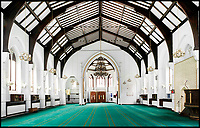 BNPS.co.uk (01202 558833)<br /> Pic: HistoricEngland/BNPS<br /> <br /> Prayer hall of the Didsbury Mosque in Manchester - One of several converted from former churches.<br /> <br /> A new book from Historic England reveals the spread of Mosque building across Britain.<br /> <br /> The book provide a fascinating insight into the diversity of Britain's 1,500 mosques.<br /> <br /> They range from humble house conversions where small groups gather to magnificent purpose-built complexes which can accommodate thousands of worshippers.<br /> <br /> Architect Shahed Saleem, who has designed a mosque in Hackney, east London, has produced the first comprehensive overview of Islamic architecture on these shores in his new book, The British Mosque.