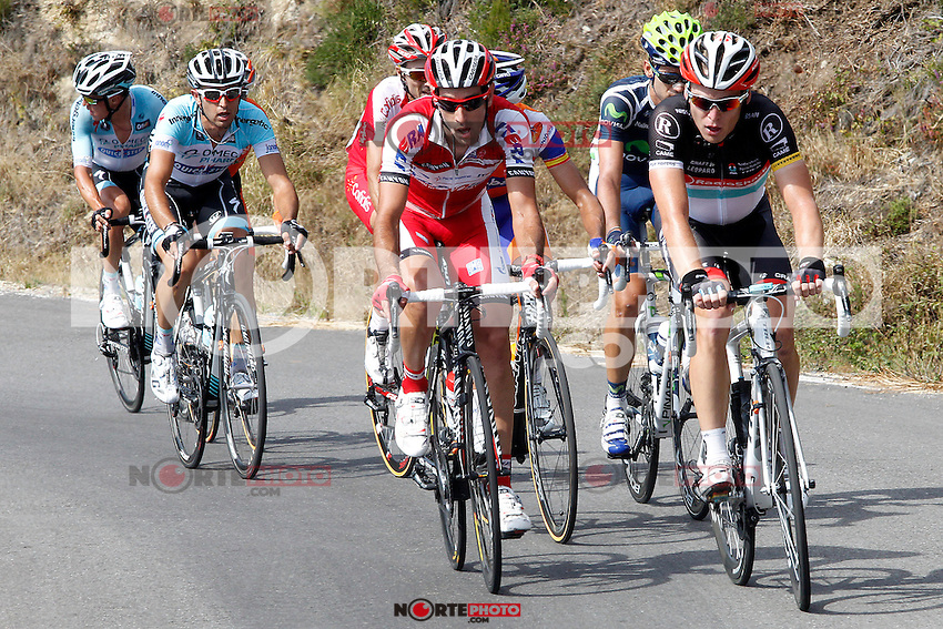 Alberto Losada (katusha Team), Javi Moreno (movistar Team), Ben Gastauer and Blel Kadri (Ag2r), Adrian Palomares (Andalucia), Alessandro Ballan (BMC), David Moncoutie and Rudy Molard (Cofidis) Amets Txurruka (Euskaltel-Euskadi), Maciej Paterski (Liquigas_Cannondale), Dario Cataldo and Serge Pauwels (Omega Phar,a-QuickStep), Simon Clarke (Orica-GreenEdge), Juanma Garate (Rabobank) and Jan Bakelants and Laurent Didier (RadioShack-Nissan) escapees during the stage of La Vuelta 2012 between Palas de Rei and Puerto de Ancares.September 1,2012. (ALTERPHOTOS/Paola Otero) NortePhoto.com<br />