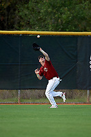 Boston College Eagles left fielder Jacob Yish (19) catches a fly ball during a game against the Minnesota Golden Gophers on February 23, 2018 at North Charlotte Regional Park in Port Charlotte, Florida.  Minnesota defeated Boston College 14-1.  (Mike Janes/Four Seam Images)