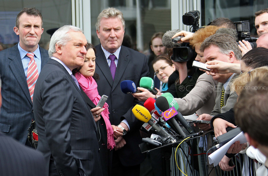 03/04/'08 Taoiseach Bertie Ahern pictured leaving University College Dublin this morning where he addressed the Global Irish Institute on the tenth anniversary of the Good Friday Agreemant....Picture Collins, Dublin, Colin Keegan.
