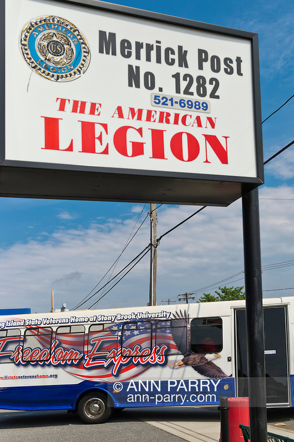AUG. 11, 2012 - MERRICK, NEW YORK, U.S. - After the barbecue American Legion Merrick Post 1282 hosts at its headquarters for vets from Long Island State Veterans Home at Stony Brook University, a Freedom Express bus patriotically decorated in red, white and blue transports the guests back to the home.