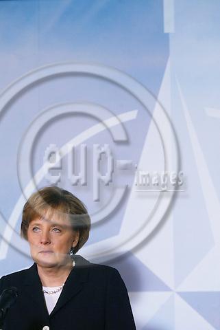BRUSSELS - BELGIUM - 23 NOVEMBER 2005 -- Angela MERKEL, Germany's new Chancellor at her first visit to NATO.  PHOTO: ERIK LUNTANG / EUP-IMAGES..
