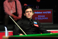 Ronnie O'Sullivan watches on during the Dafabet Masters FINAL between Barry Hawkins and Ronnie O'Sullivan at Alexandra Palace, London, England on 17 January 2016. Photo by Liam Smith / PRiME Media Images