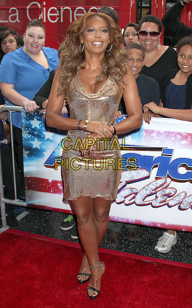 "Mel B (Melanie Brown).""America's Got Talent"" Los Angeles Auditions held at the Pantages Theatre, Los Angeles, California, USA..April 24th, 2013.full length gold metallic dress cowl neck black open toe sandals  .CAP/ADM/RE.©Russ Elliot/AdMedia/Capital Pictures."