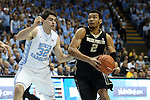 20 January 2016: Wake Forest's Devin Thomas (2) and North Carolina's Luke Maye (32). The University of North Carolina Tar Heels hosted the Wake Forest University Demon Deacons at the Dean E. Smith Center in Chapel Hill, North Carolina in a 2015-16 NCAA Division I Men's Basketball game. UNC won the game 83-68.