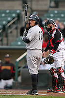 Scranton Wilkes-Barre Yankees third baseman Brandon Laird #10 at bat during a game against the Rochester Red Wings at Frontier Field on April 12, 2011 in Rochester, New York.  Scranton defeated Rochester 5-3.  Photo By Mike Janes/Four Seam Images