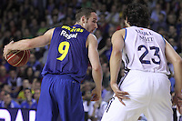 14.06.2013 Bacelona, Spain. Liga Endesa Play Off titulo. Picture show Marcelinho Huertas in action during game betwen FC BArcelona v Real Madrid at Palau Blaugrana