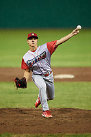 Williamsport Crosscutters relief pitcher Anton Kuznetsov (7) delivers a pitch during a game against the Batavia Muckdogs on June 22, 2018 at Dwyer Stadium in Batavia, New York.  Williamsport defeated Batavia 9-7.  (Mike Janes/Four Seam Images)