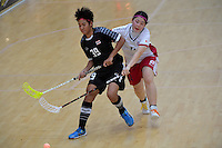 Thailand&rsquo;s Pichawee Yoola and Japan&rsquo;s Maho Karino in action during the World Floorball Championships 2017 Qualification for Asia Oceania Region - Japan v Thailand at ASB Sports Centre , Wellington, New Zealand on Saturday 4 February 2017.<br /> Photo by Masanori Udagawa<br /> www.photowellington.photoshelter.com.
