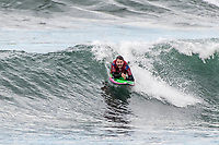 BELLS BEACH, Torquay, Victoria, Australia   (Sunday, April 1, 2018) Barney Miller (AUS) the World Adaptive surfing champion during an expression session at the Rip Curl Pro. - The Rip Curl Women's Pro Bells Beach, Stop No. 2 on the World Surf League (WSL) Championship Tour (CT), completed Round 3 today in three-to-four foot (1-1.3 metre) waves at the world-famous Bells Beach. The round witnessed major eliminations, narrowing the women&rsquo;s field to eight for the Quarterfinals. <br /> <br /> In a shocking turn of events, two-time WSL Champion Tyler Wright (AUS) lost in Round 3 Heat 2 and leaves with a 9th place result. The Australian breezed through her opening heat at the Rip Curl Women&rsquo;s Pro but did not repeat her success today in Round 3. The 24-year-old now shifts her focus to the third and final stop on the Australian leg, the Margaret River Pro, which she won in 2016. <br /> The Corona Highline event, a single-heat expression session featuring four athletes, capped off the day&rsquo;s action. The specialty heat saw Matt Wilkinson (AUS), Jordy Smith (ZAF), Silvana Lima (BRA), and Johanne Defay (FRA) rule the Bells lineup on sustainable, twin-fin surfboards shaped by Gary McNeill. <br /> <br /> The Corona Highline aims to not only showcase the elite competitors&rsquo; individuality and style as they surf identical twin-fin surfboards but also some of the innovative and relevant solutions to marine plastic pollution. In addition to riding sustainable surfboards, the competitors used eco-fins made from fishnets salvaged from Chile and wore Parley Ocean Plastic&trade; jerseys upcycled from plastic. <br /> Photo: joliphotos.com