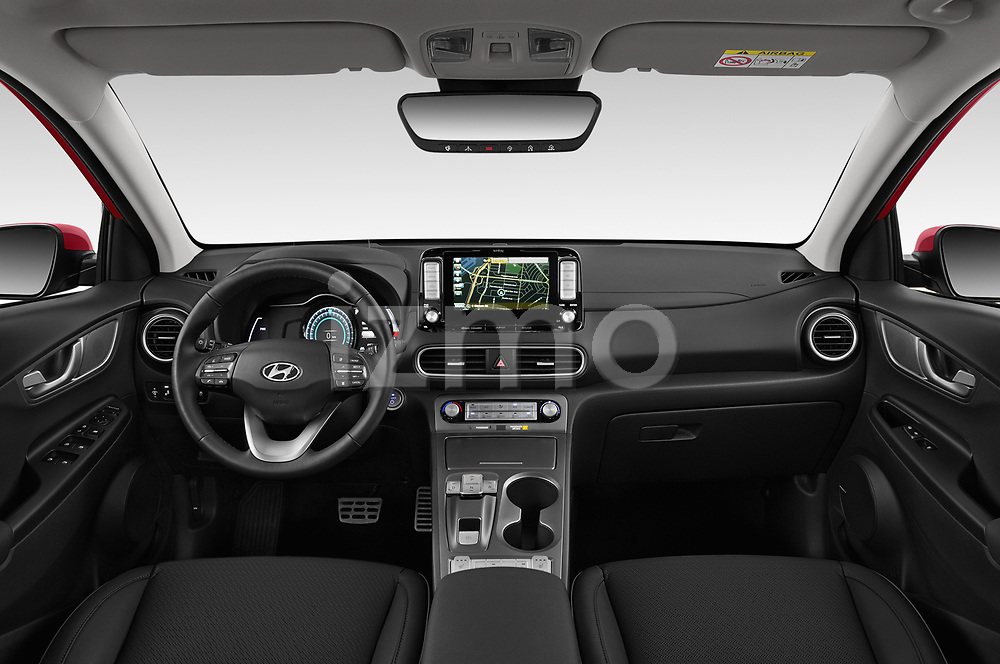 Stock photo of straight dashboard view of a 2019 Hyundai Kona EV Creative 5 Door SUV