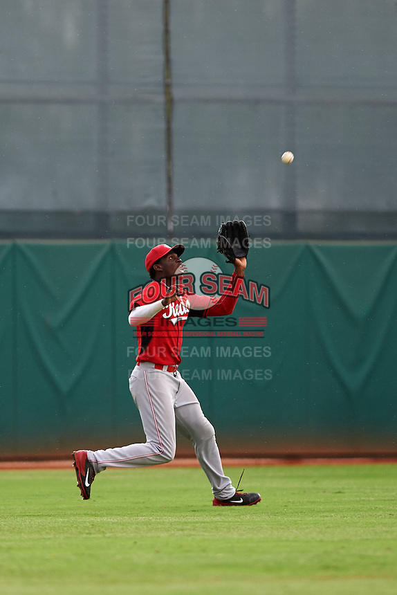 Cincinnati Reds Michael Beltre (34) during an instructional league game against the Cleveland Indians on October 17, 2015 at the Goodyear Ballpark Complex in Goodyear, Arizona.  (Mike Janes/Four Seam Images)