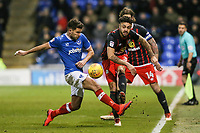Blackburn Rovers' Derrick Williams gets a ball past Portsmouth's Gareth Evans <br /> <br /> Photographer Andrew Kearns/CameraSport<br /> <br /> The EFL Sky Bet League One - Portsmouth v Blackburn Rovers - Tuesday 13th February 2018 - Fratton Park - Portsmouth<br /> <br /> World Copyright &copy; 2018 CameraSport. All rights reserved. 43 Linden Ave. Countesthorpe. Leicester. England. LE8 5PG - Tel: +44 (0) 116 277 4147 - admin@camerasport.com - www.camerasport.com