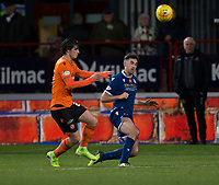 8th November 2019; Dens Park, Dundee, Scotland; Scottish Championship Football, Dundee Football Club versus Dundee United; Shaun Byrne of Dundee clears the ball from Ian Harkes of Dundee United  - Editorial Use