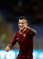 Calcio, Serie A: Roma, stadio Olimpico, 19 febbraio 2017.<br /> Roma&rsquo;s Leandro Paredes celebrates after scoring during the Italian Serie A football match between As Roma and Torino at Rome's Olympic stadium, on February 19, 2017.<br /> UPDATE IMAGES PRESS/Isabella Bonotto