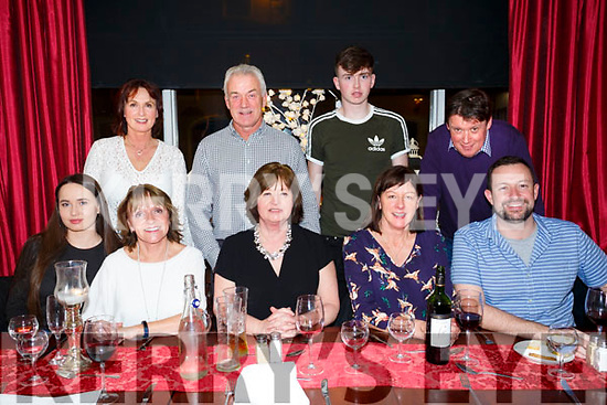 Family get together from Railway terrace Tralee enjoying a meal at Denny Lane on Friday Front l-r Grace Myers, Vomrneen Reidy, Deirdre Gabbert,Trina Hurlley, Stephan Hurley Back l-r Angela Myers, Noel Hurley, Jack Myers and Michael Gabbert