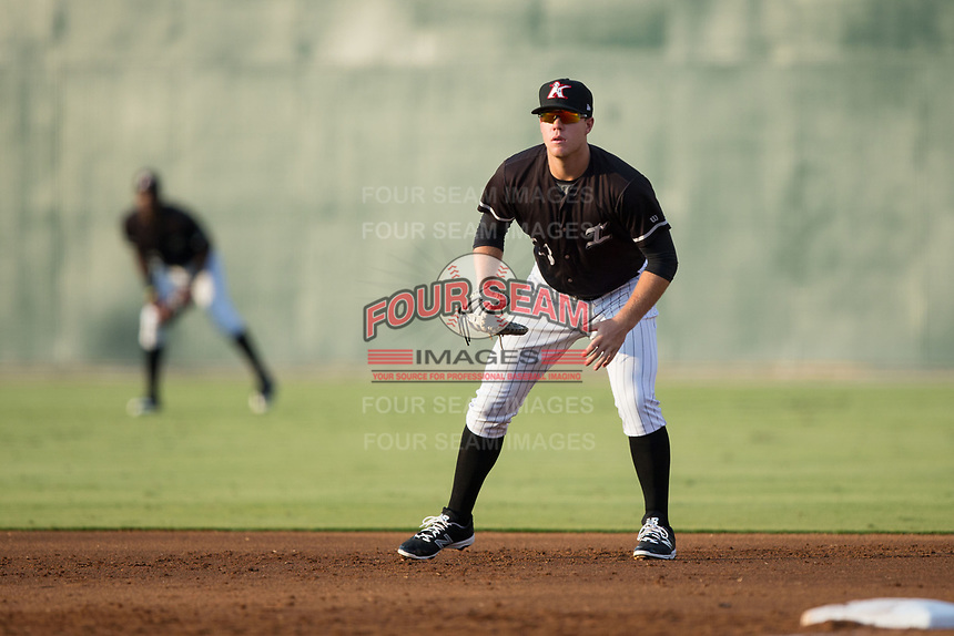 Kannapolis Intimidators first baseman Gavin Sheets (23) on defense against the Hagerstown Suns at Kannapolis Intimidators Stadium on July 10, 2017 in Kannapolis, North Carolina.  The Suns defeated the Intimidators 8-5.  (Brian Westerholt/Four Seam Images)