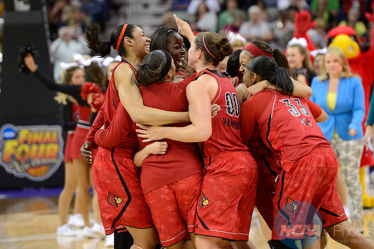 07 APR 2013:  The University of Louisville celebrates their victory over the University of California during the Division I Women's Basketball Championship in New Orleans, LA.  Louisville defeated California 64-57 to advance to the national title game.  Jamie Schwaberow/NCAA Photos
