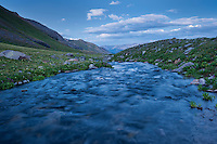 Outlet river from Ice lake, Ice Lakes Basin, San Juan mountains, Colorado, USA