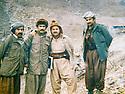 Iraq 1980 <br />     In Nawzeng, from left to right,  Salar Aziz, Nou Shirwan Mustafa, Jalal Talabani and Mullazem Omar Abdallah  <br /> Irak 1980  <br /> A Nawzang, de gauche a droite, Salar Aziz, Nou Shirwan Mustafa, Jalal Talabani et Mullazem Omar Abdallah