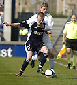 14/04/2007       Copyright Pic: James Stewart.File Name : sct_jspa04_raith_rovers_v_morton.MORTON'S JAMES MCALLISTER AND RAITH'S CRAIG WILSON CHALLENGE....James Stewart Photo Agency 19 Carronlea Drive, Falkirk. FK2 8DN      Vat Reg No. 607 6932 25.Office     : +44 (0)1324 570906     .Mobile   : +44 (0)7721 416997.Fax         : +44 (0)1324 570906.E-mail  :  jim@jspa.co.uk.If you require further information then contact Jim Stewart on any of the numbers above.........