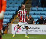 Billy Sharp of Sheffield Utd celebrates scoring the equalising goal during the English League One match at Glanford Park Stadium, Scunthorpe. Picture date: September 24th, 2016. Pic Simon Bellis/Sportimage