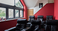 BNPS.co.uk (01202 558833)<br /> Pic: MrAndMrsClarke/BNPS<br /> <br /> Cinema room. <br /> <br /> A luxury house on an English country estate where the Allies plotted the infamous assassination of one of Adolf Hitler's top henchmen has gone on the market.<br /> <br /> Rooftops, a Norwegian-style chalet, is located on the Moreton Paddox estate in Warwickshire where 4,000 Czech soldiers were billeted during the Second World War.<br /> <br /> The plot to assasinate Nazi monster SS General Reinhard Heydrich involved two Czech soldiers who parachuted into Prague where they attacked and killed him as he was driven to work. <br /> <br /> His death led to appalling Nazi reprisals on locals, with more than 1,300 men, women and children massacred.<br /> <br /> The Edwardian mansion at Moreton Paddox that was requisitioned for the war effort was later demolished and Rooftops was built on the grounds in 2009.