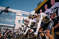 Team SKY on the start podium<br /> <br /> Stage 3 (Team Time Trial): Cholet > Cholet (35km)<br /> <br /> 105th Tour de France 2018<br /> ©kramon
