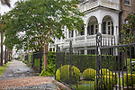 Stately antebellum mansion and beautiful ironwork on The Battery, Charleston, SC, a National Historic Landmark district.