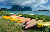 Lagoon Beach, looking south towards Mounts Lidgbird and Gower. Lord Howe Island, Australia, Tasman Sea, Pacific Ocean