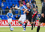St Johnstone v St Mirren....06.10.12      SPL.Gary Miller battled with Jim Goodwin.Picture by Graeme Hart..Copyright Perthshire Picture Agency.Tel: 01738 623350  Mobile: 07990 594431
